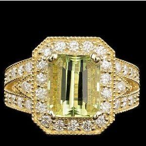 Jewelry - 14k Yellow Gold 4.00ct Beryl 1.30ct Diamond Ring
